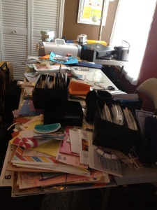Messy scrapbook table