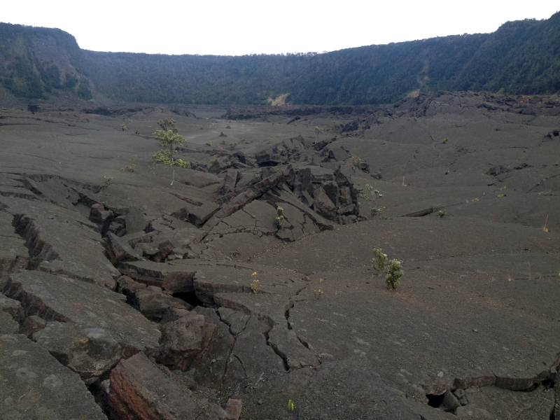 Hiking a volcano crater in Hawaii